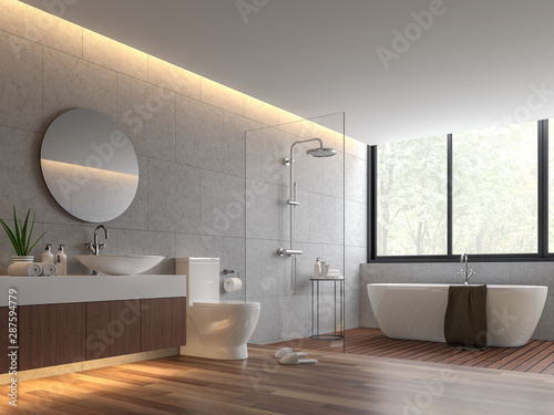 Fotografía  Contemporary loft style bathroom 3d render,The room has wooden floor,concrete tile wall and clear glass shower partition,There are large windows offering natural views