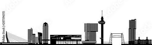Fototapety, obrazy: Rotterdam skyline netherlands with text