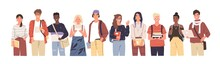 Group Of Multicultural Students Flat Vector Illustration. Young Girls And Boys Holding Books And Laptop Isolated Characters On White Background. Happy Teenager In Casual Clothes. Youth Lifestyle.