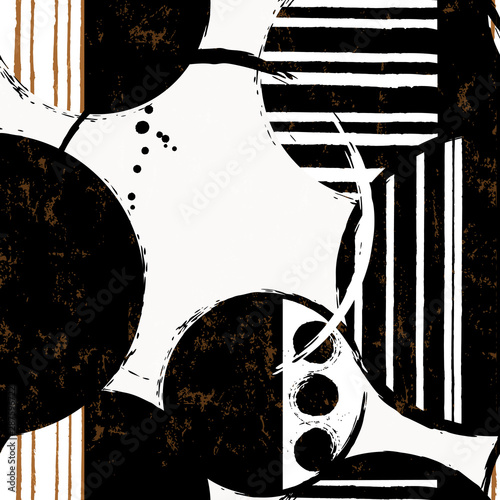 seamless abstract pattern background, with circles, strokes and splashes, retro style, black and white
