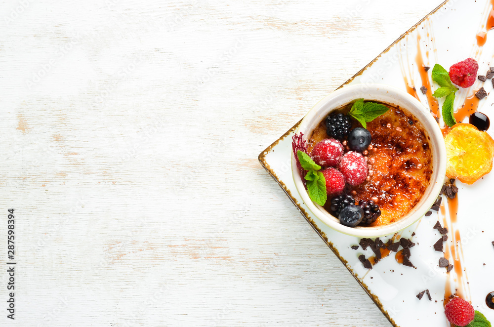Fototapety, obrazy: Panacotta dessert. Top view. Free space for your text.