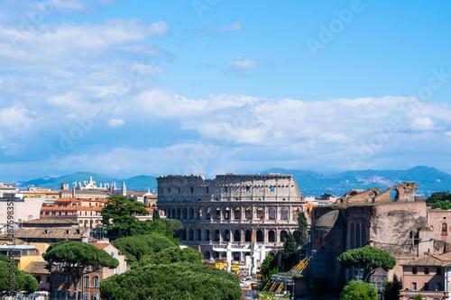 Fotografia, Obraz  Coloseum seen from the top of Altar of the Fatherland or Altare della Patria, Ro