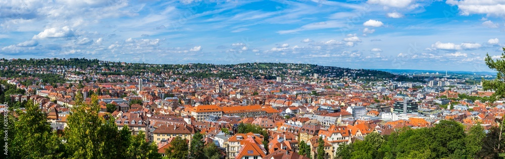 Fototapety, obrazy: Germany, XXL panorama of city stuttgart downtown houses and church aerial view above the roofs with sun in summer