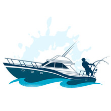 Sports Boat Fisherman With Gear