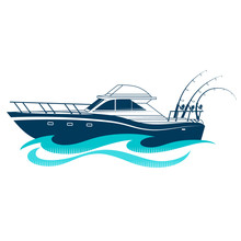 Boat With Fishing Rods On A Blue Wave
