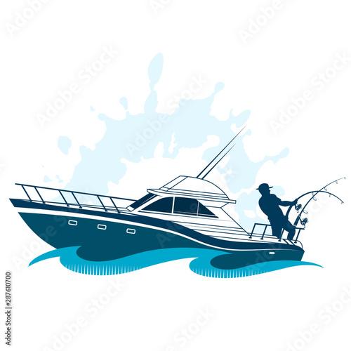 Fototapeta Sports boat fisherman with gear