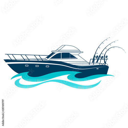 Valokuva Boat with fishing rods on a blue wave