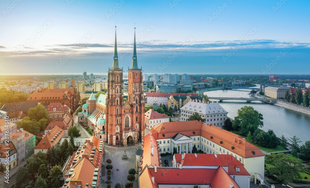 Fototapety, obrazy: Aerial cityscape of Wroclaw with Cathedral of St. John the Baptist, Poland