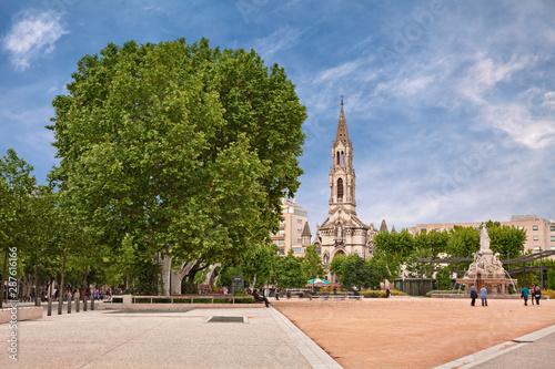 Nimes, France: the garden square Esplanade Charles-de-Gaulle