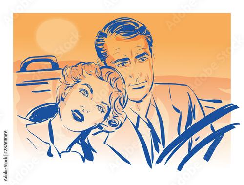 Photo couple amoureux, une femme posant sa tête sur l' épaule d'un homme conduisant un