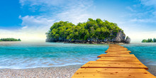 Bright Spring Scenery Of Krabi Island Pig Photomontage Adds Beauty To The Beauty Of Natural Conceptual Backgrounds.