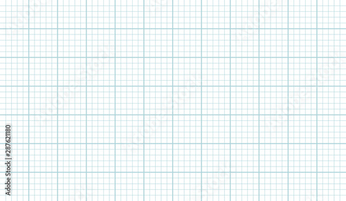 Fotomural  Grid paper sheet texture vector horizontal background, grahp paper template for