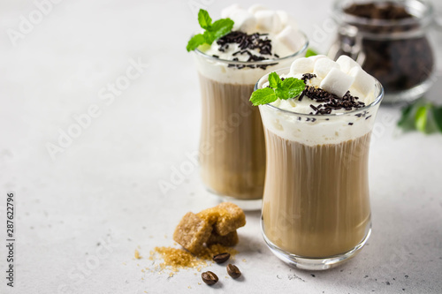 Obraz na plátně Festive coffee with whipped cream, mint, marshmallow and chocolate