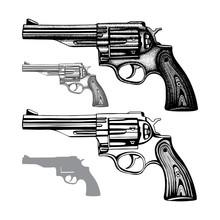 Revolver. Hand Drawn Vintage Revolver Vector Illustration. Engraving Style Old Pistols Set.