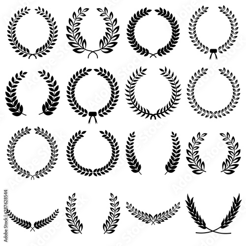 Collection of different black and white silhouette circular laurel foliate, olive,  wheat and oak wreaths depicting an award, achievement, heraldry, nobility Fototapet
