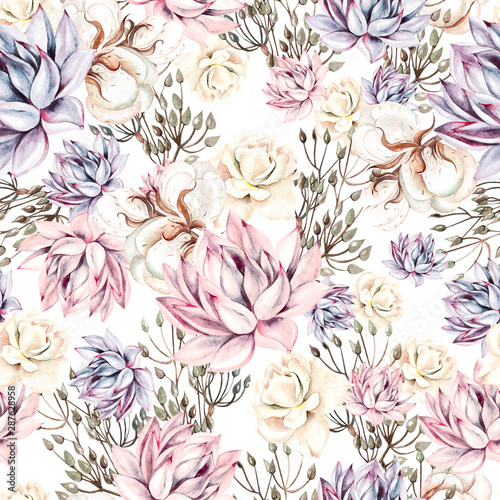 Canvas Print Watercolor succulents seamless pattern
