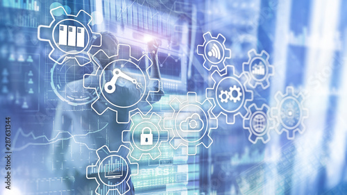 Obraz Technology innovation and process automation. Smart industry 4.0 - fototapety do salonu