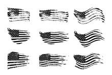Black Vintage USA Flags Illustration. Vector American Flag On Grunge Texture Set.