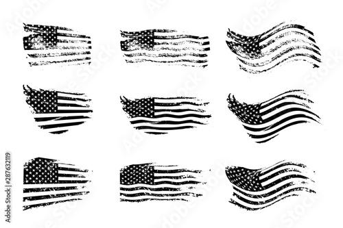 Photo Black vintage USA flags illustration