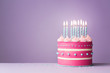 canvas print picture - Pink birthday cake