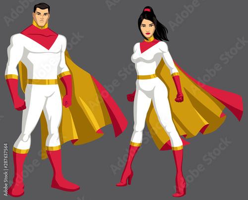Fototapeta Superhero Couple Asian Isolated