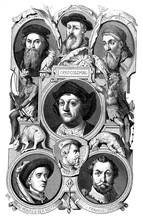 Book Cover Page With The Portraits Of Famous Navigators: Sebastian Cabot, Amerigo Vespucci Who Gave His Name To The New World, Christopher Columbus, Jacques Cartier And Prince Henry The Navigator