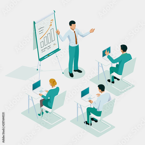 Photo sur Toile Les Textures Isometric business training or courses, business meeting, teamwork, training, improving professional skill concept.
