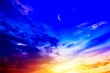 canvas print picture -  Crescent moon with beautiful sunset background . Generous Ramadan . Religion background
