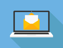 Laptop With Opened Letter On Blue Background With Shadow. Media Concept. New Message Design In Trendy Flat Style.