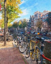 Oil Painting Modern Art Amsterdam, Netherlands. Wall Poster And Canvas Contemporary Drawing Print. Touristic Postcard And Stationery Design. Europe Beauty Travel Scene, Historical Buildings And Place.