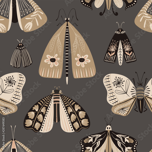 Folk Art Seamless Pattern With Moths.