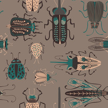 Folk Art Seamless Pattern With Bugs.