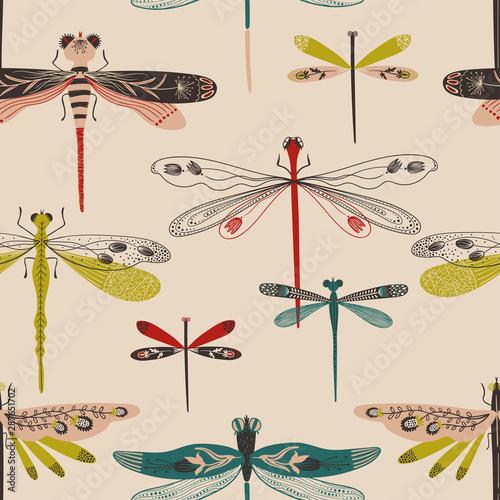 Fotografiet  Folk Art Seamless Pattern With Dragonflies.