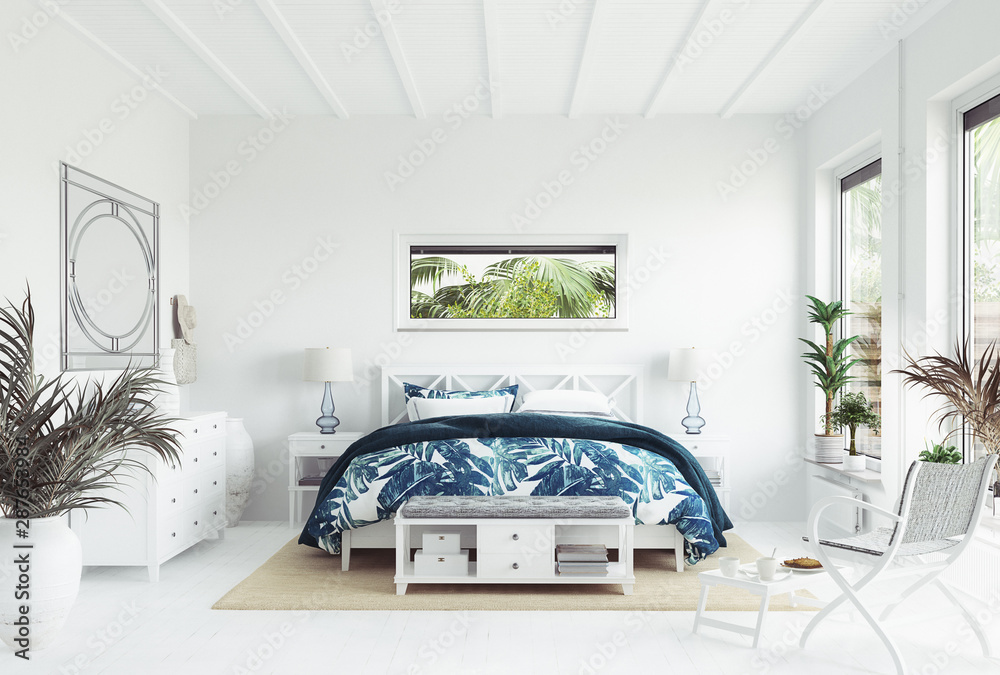 Fototapety, obrazy: White tropical bedroom interior, Coastal style, 3d render