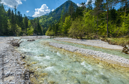 Fototapeta Beautiful Landscape Scene With Forest Mountains And River In Slovenia Europe