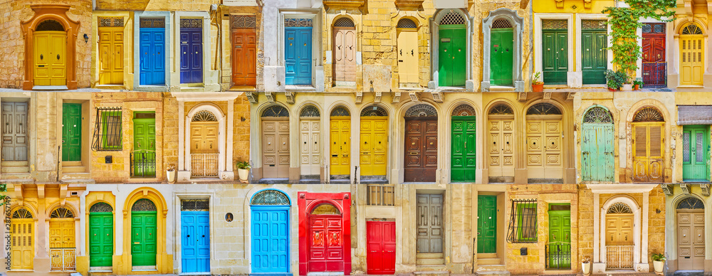 Fototapety, obrazy: Colorful Maltese doors