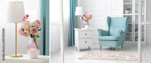 Blue and white theme living room collage - classic armchair and golden table lam Wallpaper Mural