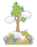 Unicorn cat cartoon couple vector design