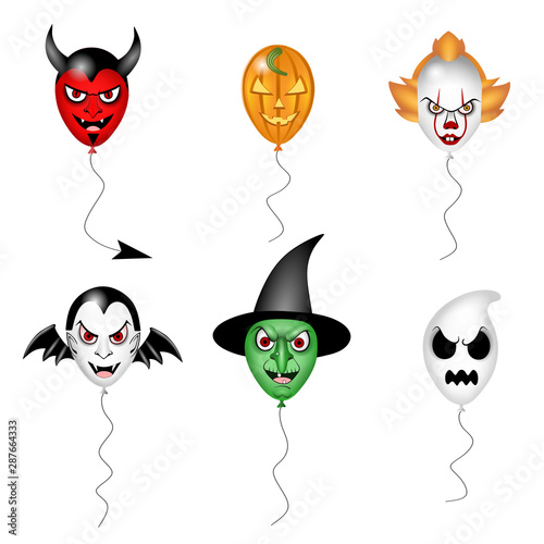 Obraz na plátně set halloween party monsters balloons illustrations vector