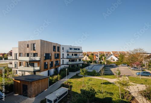 Obraz na płótnie Paris, France - Apr 20, 2019: Modern real estate apartment buildings - elevated