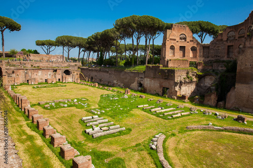 Fotografie, Obraz The Stadium of Domitian on the Palatine Hill in Rome