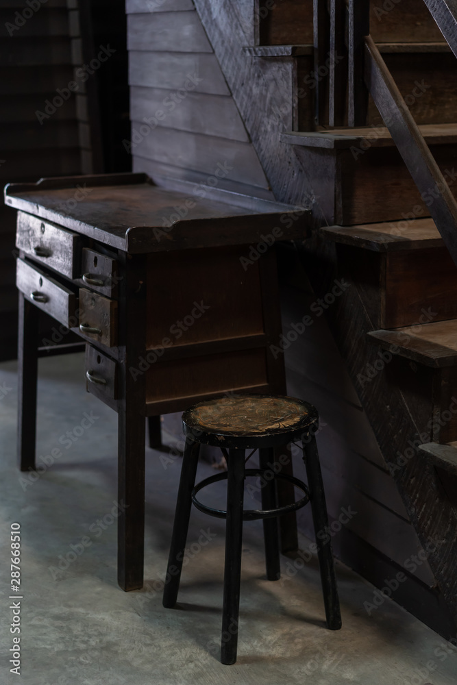 Fototapeta Antique wooden chair and table in old house vintage retro style interior decoration