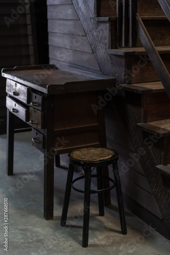Antique wooden chair and table in old house vintage retro style interior decoration - 287668510