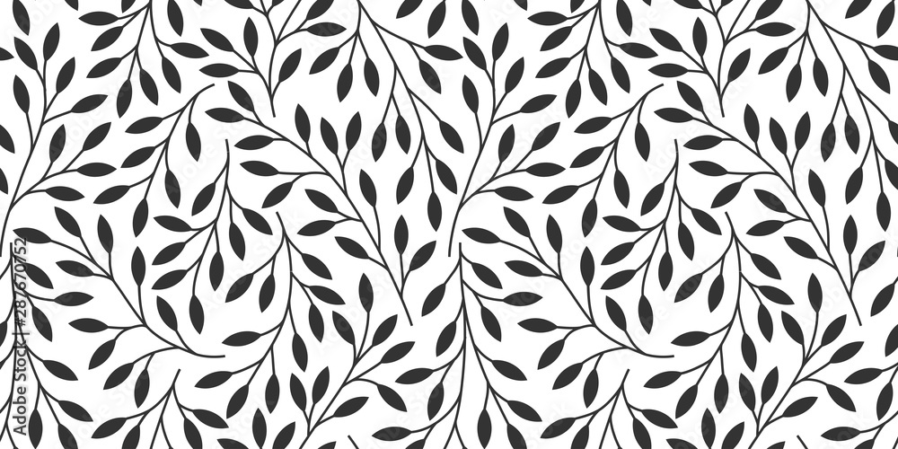 Fototapeta Elegant floral seamless pattern with tree branches. Vector organic background.