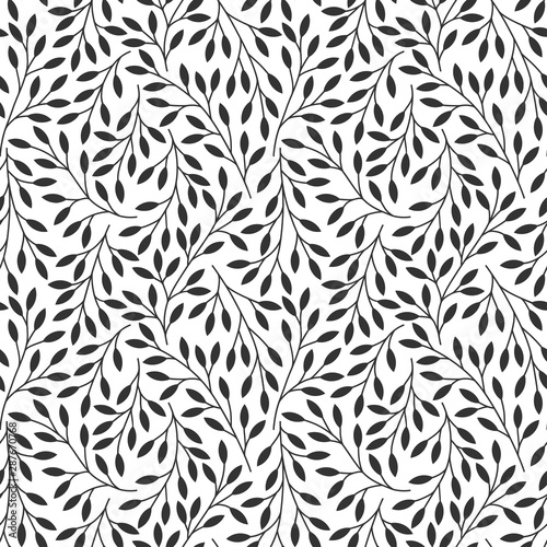 Elegant floral seamless pattern with tree branches Принти на полотні