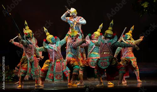 Obraz na plátně Khon ,Art culture Thailand Dancing in masked khon(Mime) in literature ramayana
