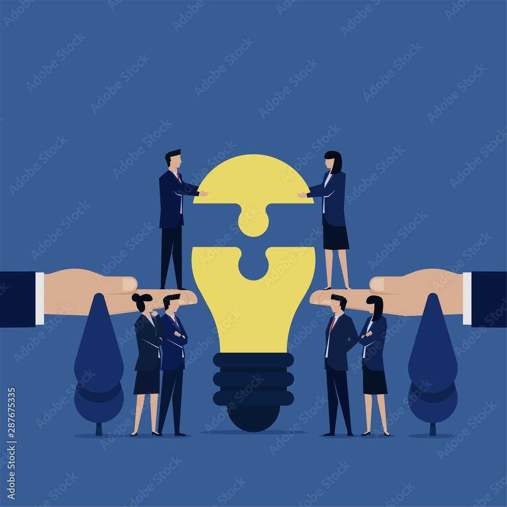 Fototapeta Business flat vector concept team put last piece of idea bulb puzzle metaphor of working together.