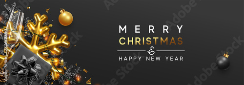 Merry Christmas banner. Background Xmas design of sparkling lights garland, with realistic gifts box, black 3d snowflake and glitter gold confetti. Horizontal christmas greeting cards, header, website