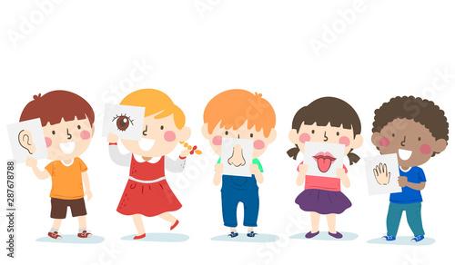 Leinwand Poster Kids Five Senses Lesson Illustration