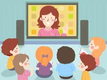 Kids Teacher Screen Study Teach Illustration